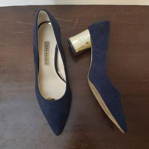 Zara Blue Faux Suede/Gold Heel Pumps